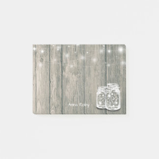 Rustic Wood Elegant Mason Jar Vintage String Light Post-it Notes