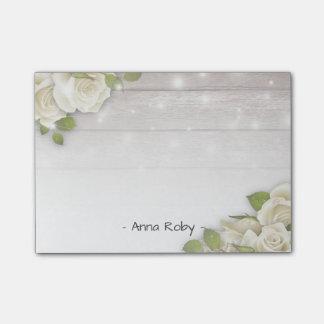 Rustic Wood Elegant White Rose Floral String Light Post-it Notes