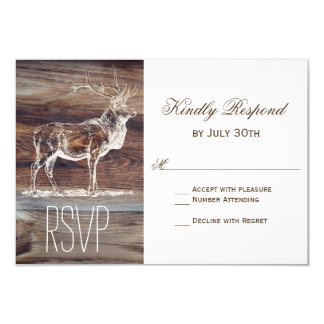 Rustic Wood Elk Wildlife Wedding RSVP Cards