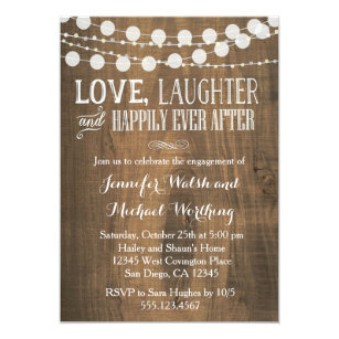 Engagement party invitations zazzle ca rustic wood engagement party invitation stopboris Images