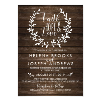 Rustic Wood Faith Wedding Invitation
