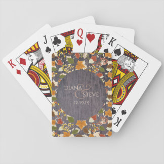 Rustic Wood Fall Leaves Monogrammed Wedding Favors Playing Cards
