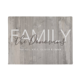 Rustic Wood Family Doormat