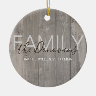 Rustic Wood Family Ornament