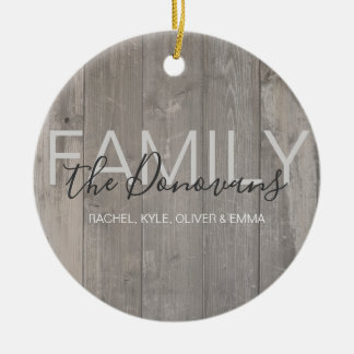 Rustic Wood Family Photo Ornament