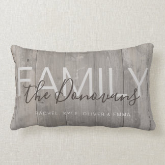 Rustic Wood Family Throw Pillow