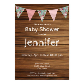 Rustic wood farmhouse country girl baby shower card