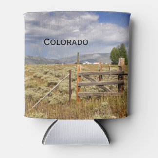 rustic wood fence by a prairie in Colorado Can Cooler