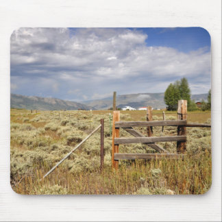 rustic wood fence by a prairie in Colorado Mouse Pad