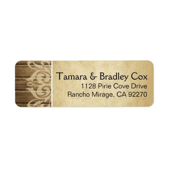 Rustic Wood Filigree | brown tan Return Address Label