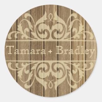 Rustic Wood Filigree Designer   brown tan Classic Round Sticker