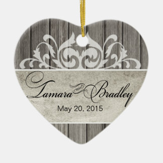 Rustic Wood Filigree Wedding Photo   grey Ceramic Ornament