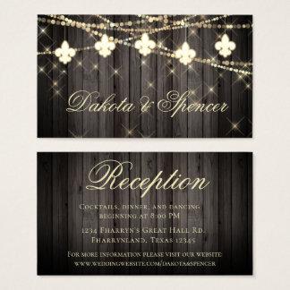 Rustic Wood Fleur de Lis Light | Wedding Reception Business Card