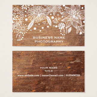 rustic wood floral business card design