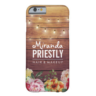 Rustic Wood Floral Chic String Lights Makeup Salon Barely There iPhone 6 Case