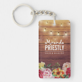 Rustic Wood Floral Chic String Lights Makeup Salon Keychain