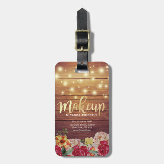 Rustic Wood Floral Chic String Lights Makeup Salon Luggage Tag