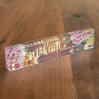 Rustic Wood Floral Chic String Lights Makeup Salon Nameplate