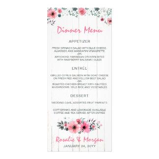 Rustic Wood Floral Country Wedding Dinner Menu