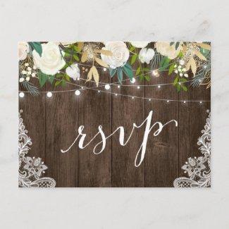Rustic Wood Floral Lace String Lights Wedding RSVP Invitation Postcard