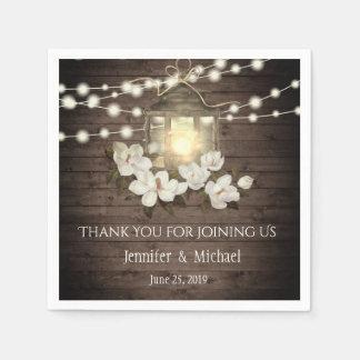 Rustic Wood Floral Lantern Lights Wedding Custom Paper Napkin