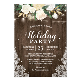 Rustic Wood Floral String Lights Holiday Party Card