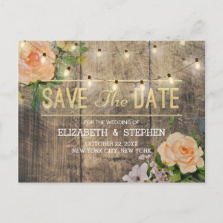 Rustic Wood Floral String Lights Save The Date Announcement Postcard