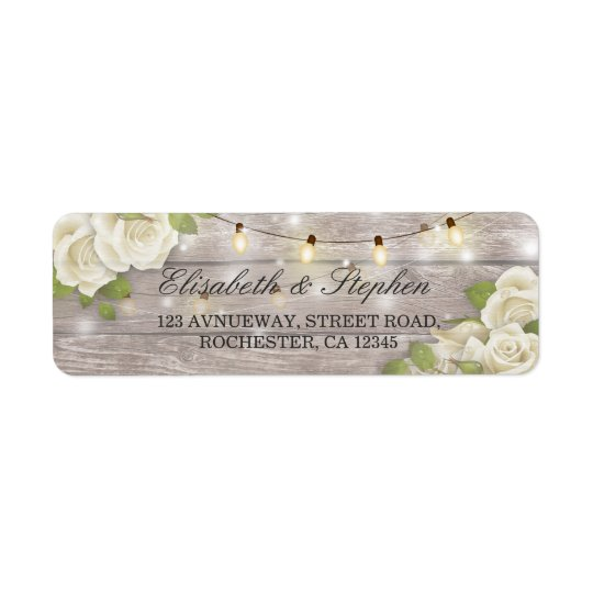 Rustic Wood Floral String Lights Wedding Address Return Address Label