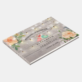 Rustic Wood Floral String Lights Wedding Guestbook