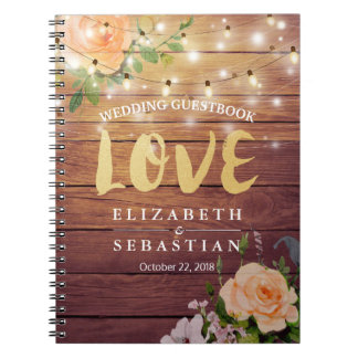 Rustic Wood Floral String Lights Wedding Guestbook Notebook