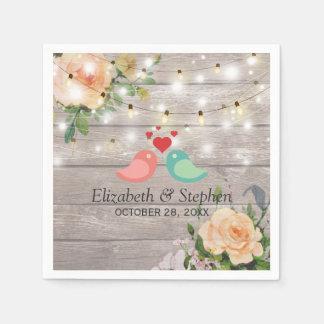 Rustic Wood Floral String Lights Wedding Shower Disposable Napkins