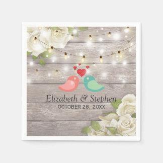 Rustic Wood Floral String Lights Wedding Shower Paper Napkins