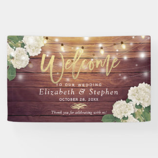 Rustic Wood Floral String Lights Wedding Welcome Banner