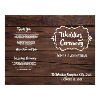 Rustic Wood Folded Wedding Program
