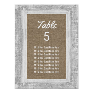 Rustic Wood Framed Burlap Wedding Seating Chart Poster