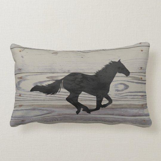 Rustic Wood Galloping Horse Watercolor Silhouette Lumbar Pillow