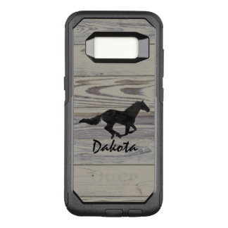 Rustic Wood Galloping Horse Watercolor Silhouette OtterBox Commuter Samsung Galaxy S8 Case