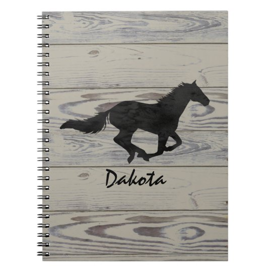 Rustic Wood Galloping Horse Watercolor Silhouette Spiral Notebooks