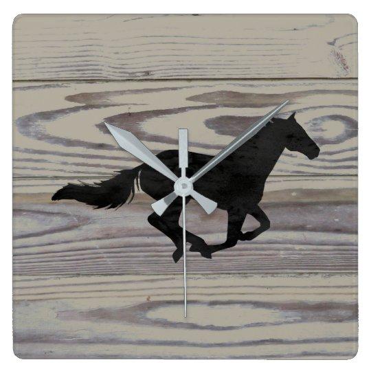 Rustic Wood Galloping Horse Watercolor Silhouette Wall Clock