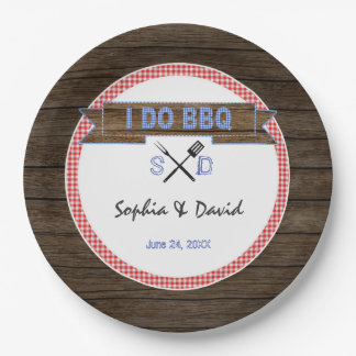 Rustic Wood Gingham I DO BBQ Couples Shower 9 Inch Paper Plate