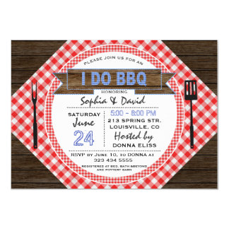 Rustic Wood Gingham I DO BBQ Couples Shower Card