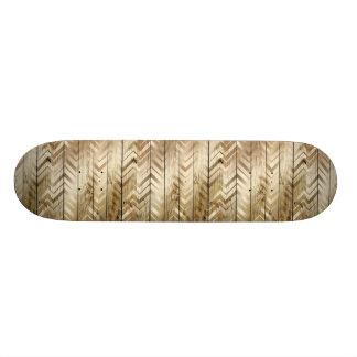 Rustic Wood Gold Chevron Stripe Skateboard