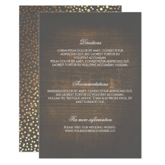 Rustic Wood Gold Confetti Wedding Details Card