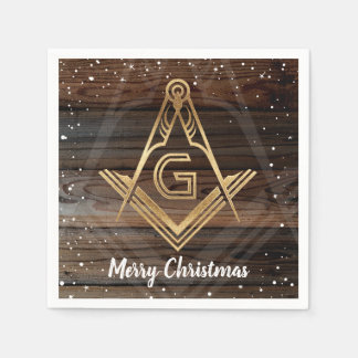 Rustic Wood Gold Merry Christmas Masonic Napkins Paper Napkins