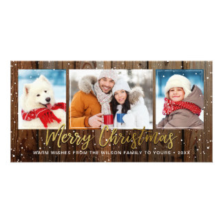 Rustic Wood Gold Merry Christmas Photo Cards