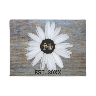 Rustic Wood Grain Add Name Year | Monogram Daisy Doormat