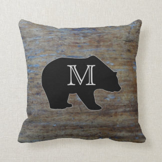 Rustic Wood Grain | Bear Monogrammed Initial Throw Pillow
