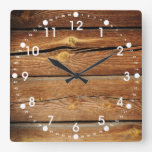 Rustic Wood Grain Boards Design Country Gifts Wall Clock