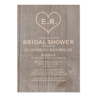 "Rustic Wood Grain Bridal Shower Invitations 5"" X 7"" Invitation Card"