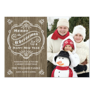 Rustic Wood Grain Christmas Holiday Photo Card
